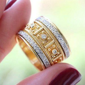 NEW 18K Yellow Gold Vintage Diamond Wide Ring